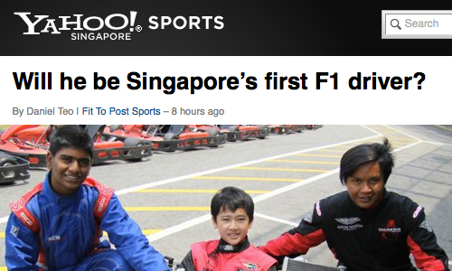 Yahoo! Sports Singapore – Will he be Singapore's first F1 driver?