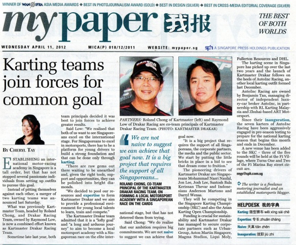 mypaper 11 April 2012 —Karting Team Join Forces for Common Goal