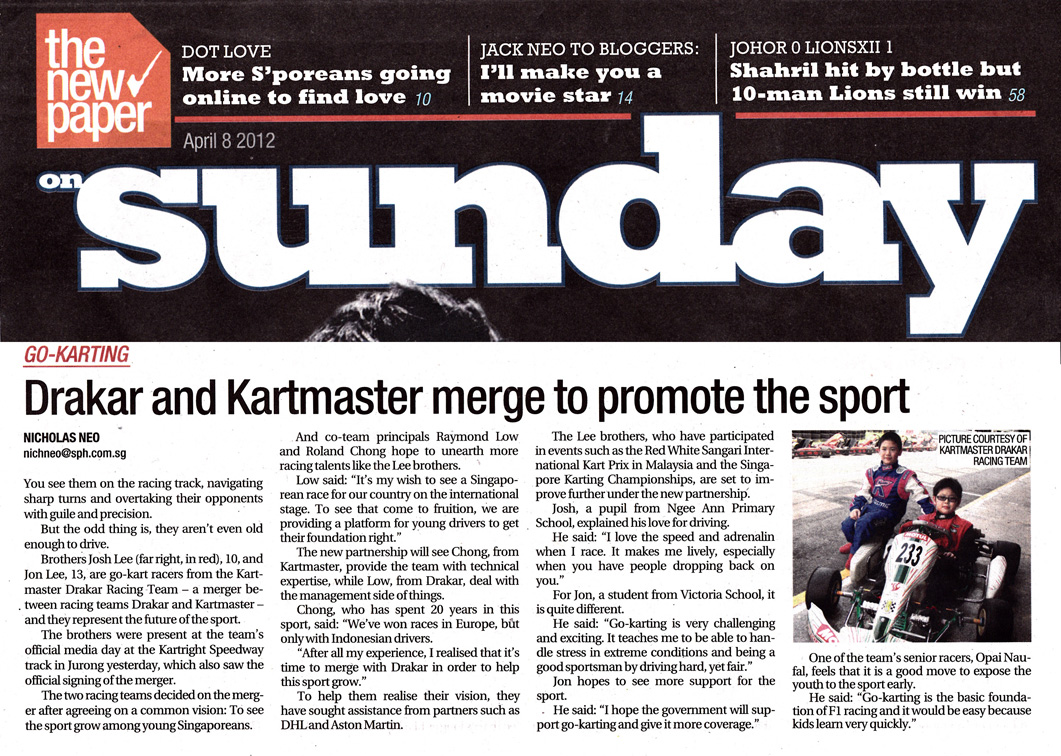 The New Paper Sunday —Drakar & Kartmaster merge to promote the sport