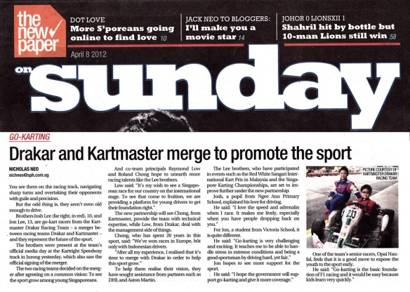 The New Paper Sunday, 8 April 2012 — Drakar & Kartmaster merget to promote the sport