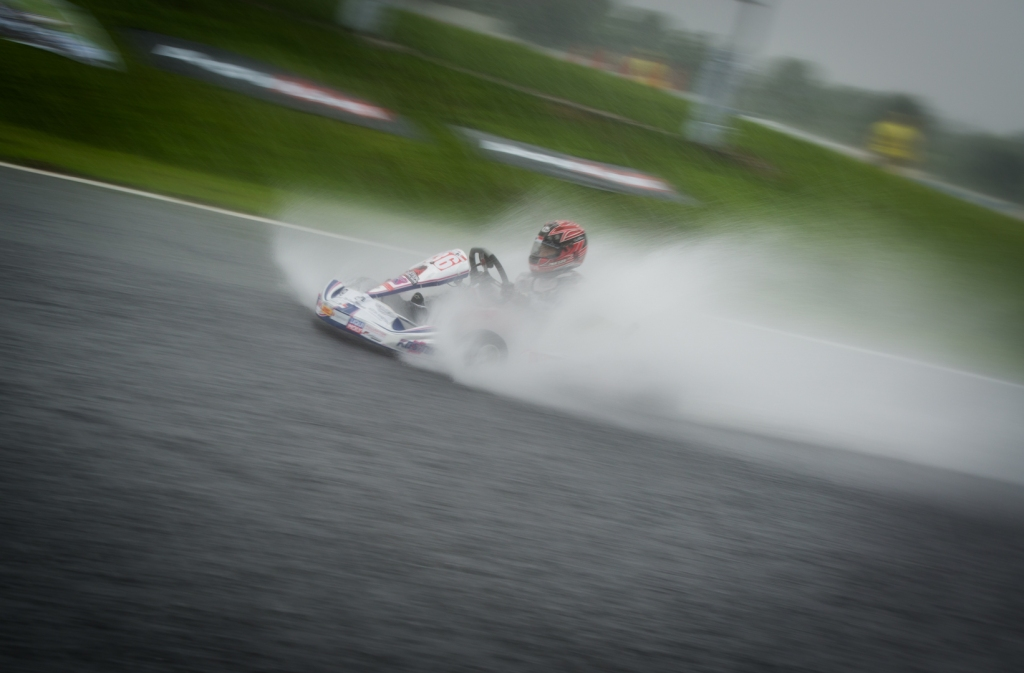 Drivers braving through the weather and flooded track condition in the Carmona Racing Circuit
