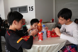 Kartmaster Drivers and friends savouring their lunch from CMPB!