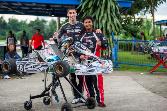 Opai with ex-teammate, Singaporean Karter Sean Hudspeth who won 4th and 5th respectively in the final race of the year
