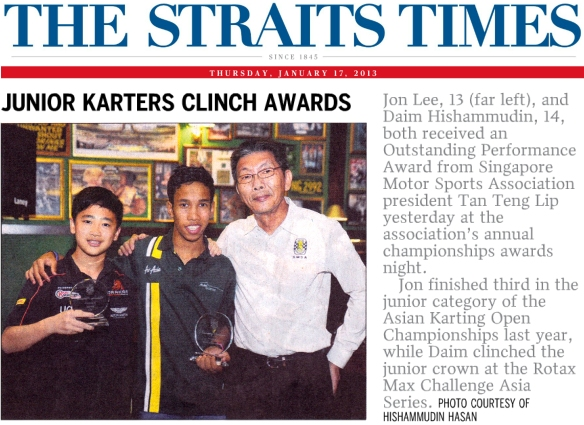 Straits Times—Junior Karters Clinch Awards